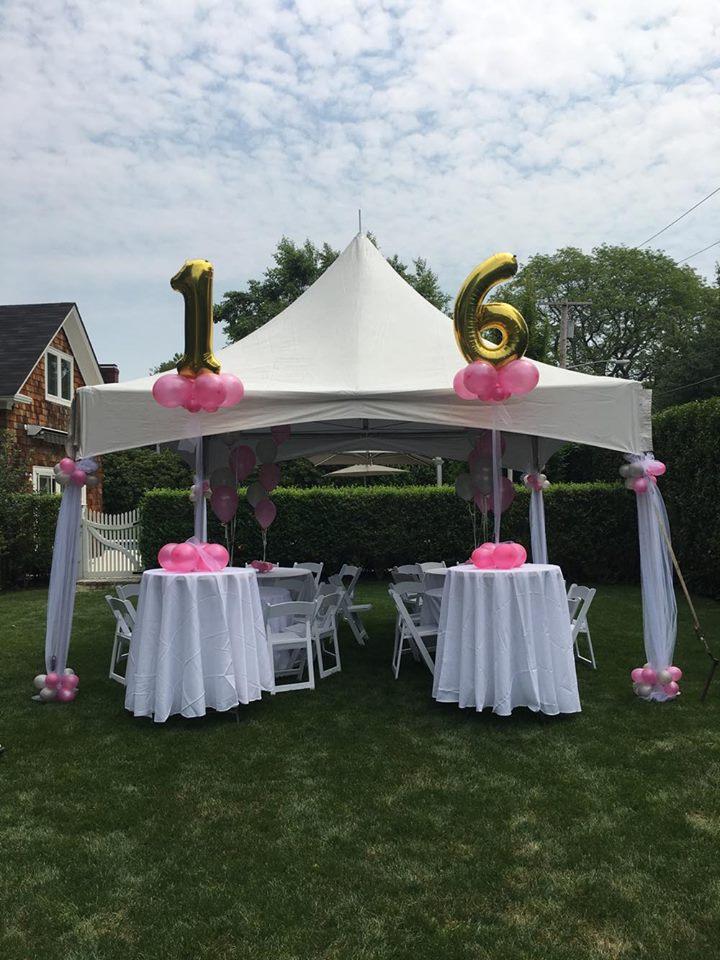 Twins Sweet 16 backyard affair in South Hampton NY